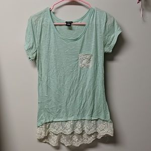 Mint green lace bottom top